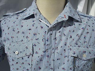 Diesel-Shirt-Mens-Size-L-Blue-Pinstripe-Summer-Floral-Short-Sleeve-Epaulets
