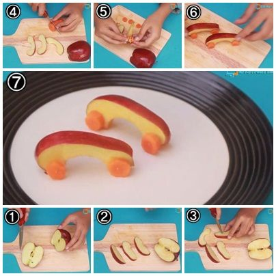 Cara Membuat Garnish Dari Buah Apel (Bentuk Mobil)