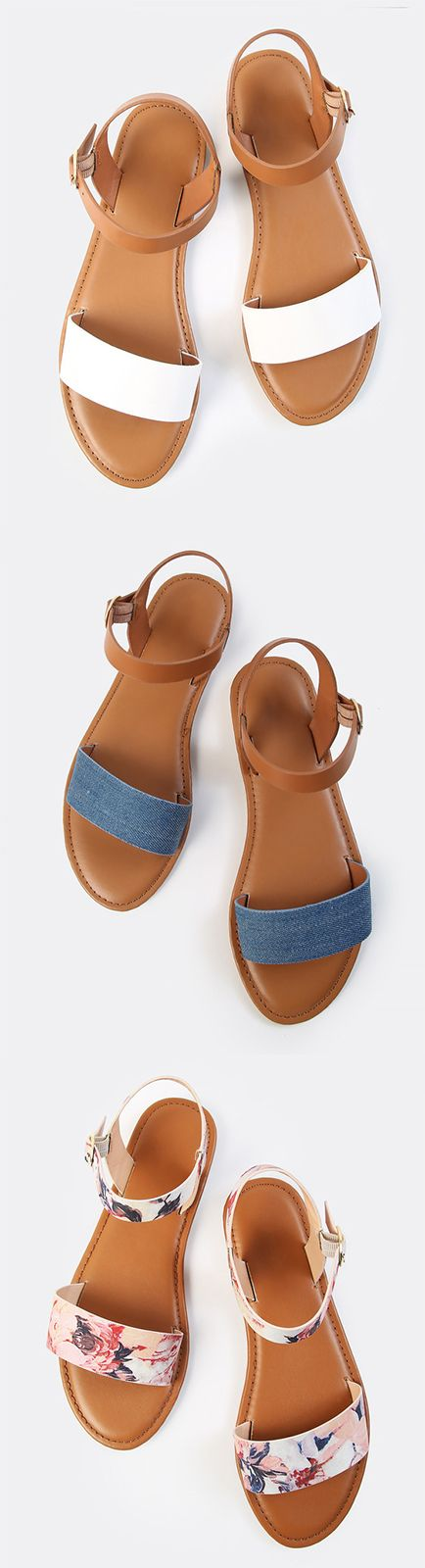 Get festival ready in the Single Band Ankle Sandals. Features a one band ankle strap design with a colorblock look and side buckle closure. Finished with a flat sole. Team it with a white swing dress and brown harness for extra fashion measures.