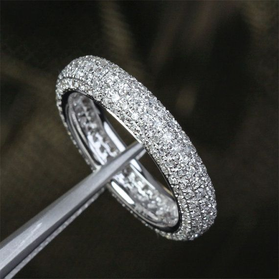Pave1.55ctw Diamond Wedding Band Solid 14K White Gold by TheLOGR, $799.00