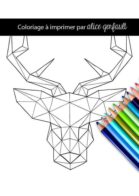 Page de coloriage Cerf géométrique, dessiné à la main, PDF au format A4 à télécharger, imprimer et à colorier.