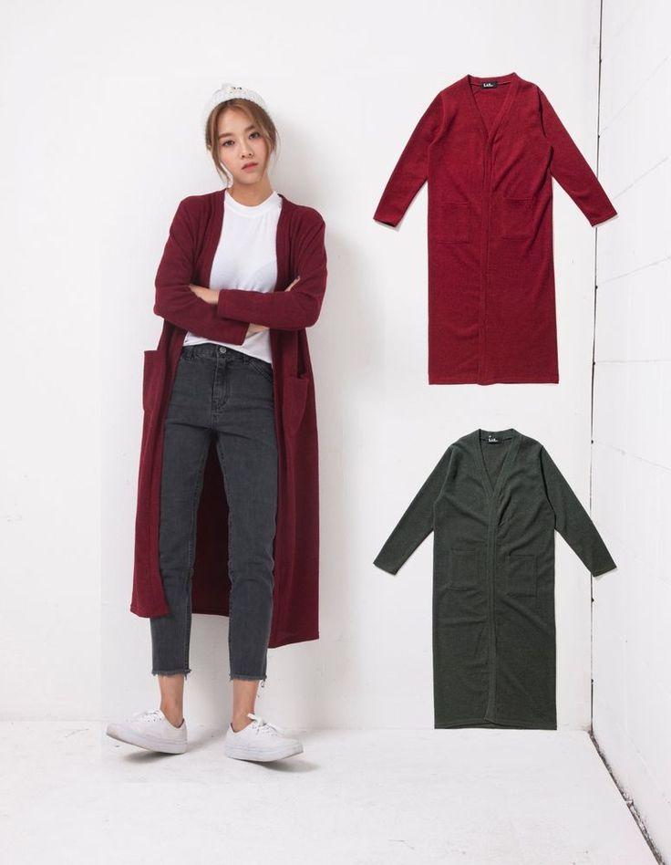 LAP Womens BASIC LONG CARDIGAN 2 Colors Size FF (AF4KG940) #LAP #Cardigan