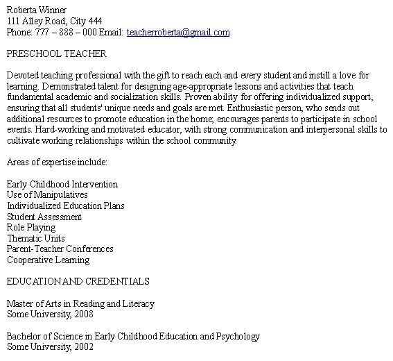 Preschool Teacher Resume Samples Free - http\/\/wwwresumecareer - teacher skills for resume