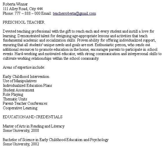 Preschool Teacher Resume Samples Free - http://www.resumecareer.info/preschool-teacher-resume-samples-free/