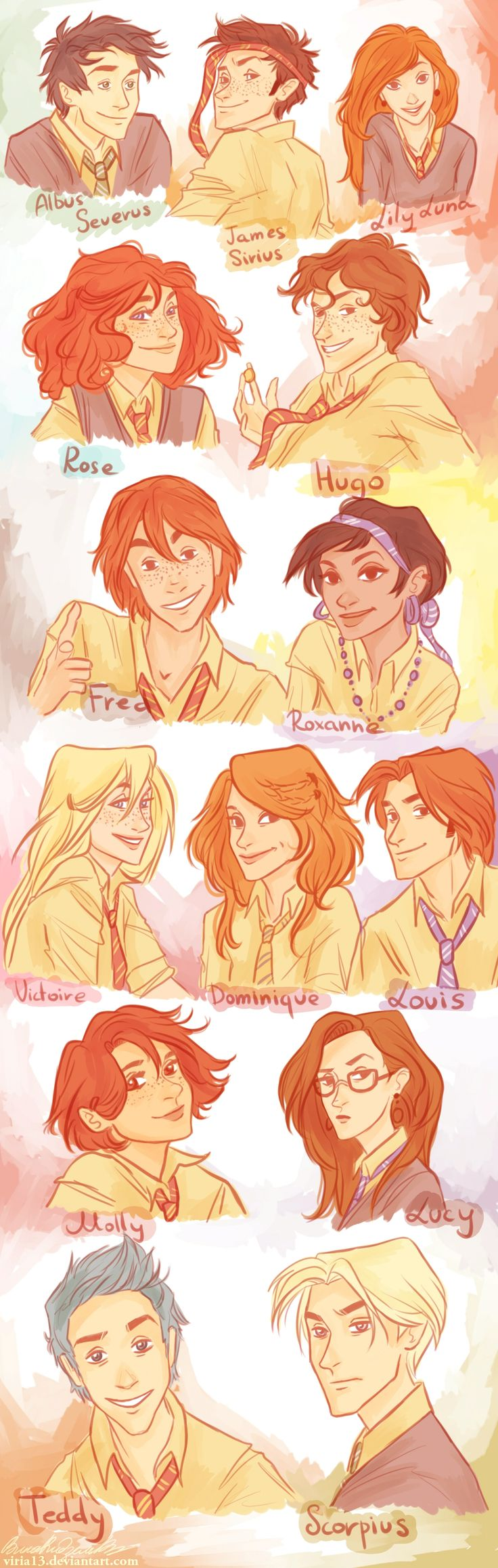 HP:next generation by viria13  Just my vision of Harry Potter next generation's characters. I hope they look kinda different from each other. I suppose I am going to make another one with Marauders' generation, and of course one with Harry's. Also,I do know it may be way different from your vision of the characters, but please..that's mine @@ Ah, and I did them all in almost the same age.