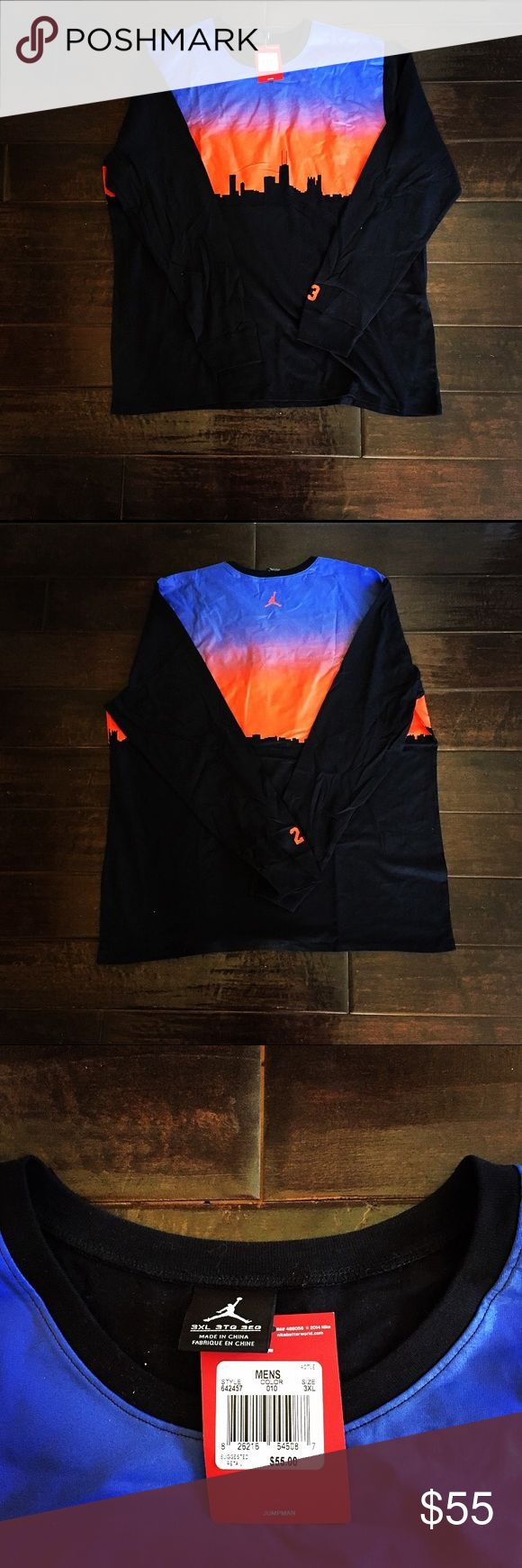Long Sleeve Nike / Air Jordan Jumpman T-Shirt Long Sleeve Nike / Air Jordan Jumpman T-Shirt: features all around screen print of  a multi-colored sunset over the city (Los Angeles), cuff sleeves (as pictured), never worn, excellent condition, crew neck, still with original tags, made from 100% Cotton, light weight, features Michael Jordan's 23 on the bottom of the left sleeve (as pictured), and still in like-new condition. Nike Shirts Tees - Long Sleeve