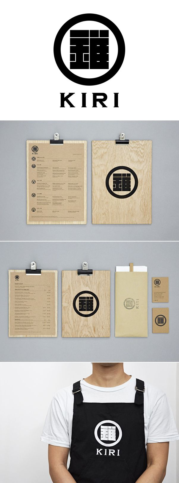 KIRI Japanese restaurant branding and design, menu, uniform #branding #logo #design #restaurant #menu #wood #board #card #kamon #kiri #apron #uniform designed by centrecreative