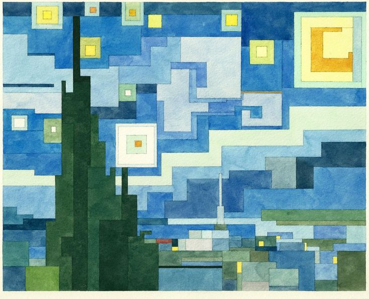 Adam Lister: The Starry Night (Adaptation from Van Gogh, inspired in 8-bit graphics in vintage computer games).