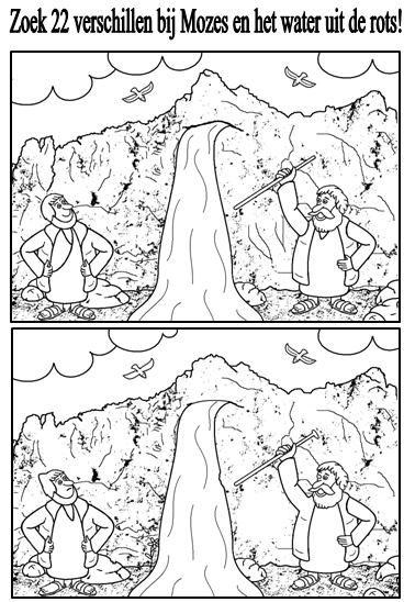 """Numeri 20: Mozes """"water uit de rots""""-zoek de verschillen"""