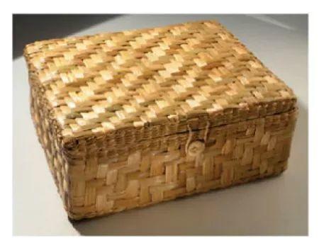 caixa baú de taboa com tampa palha vime ref.1902 40x33x15