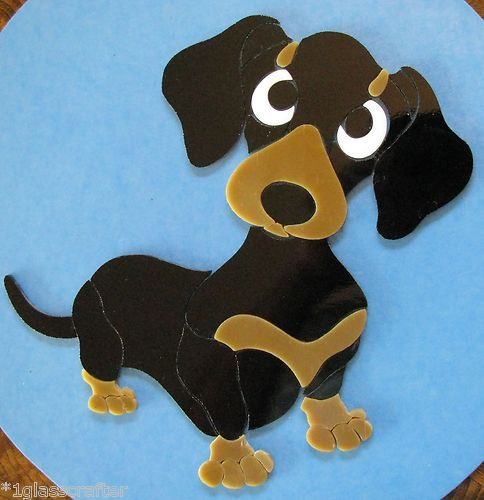 Dachshund dog stained glass mosaic inlay kit. Many designs selling on ebay.