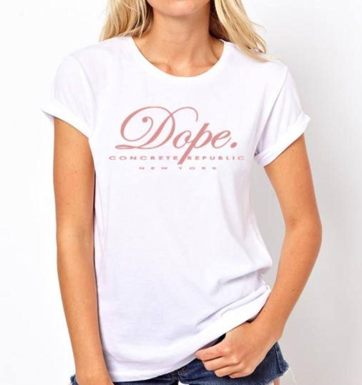 Women's Urban slang 'Dope.' tee, white tshirts (size Sm-3X) by ConcreteRepublic on Etsy