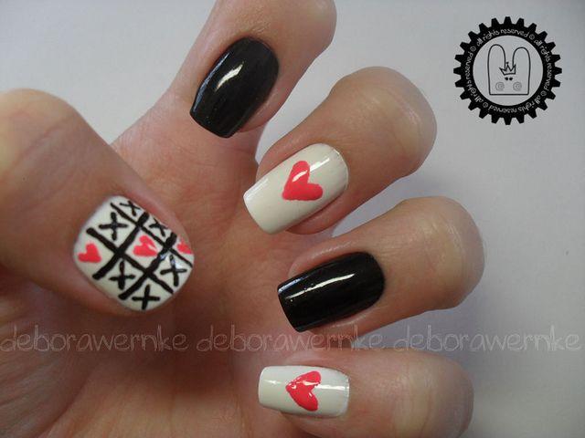: Love Nails, Heart Nails, Tic Tac Toe, Valentines Nails, Love Games, Valentines Day, Toe Nails, Nails Art Design, When Design