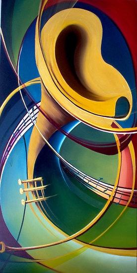 French horn art. #artwork #music #musicart www.pinterest.com/TheHitman14/music-art-%2B/