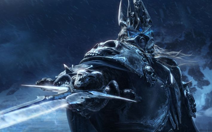 Download wallpapers Lich King, warrior, World of Warcraft, sword, monsters, WoW