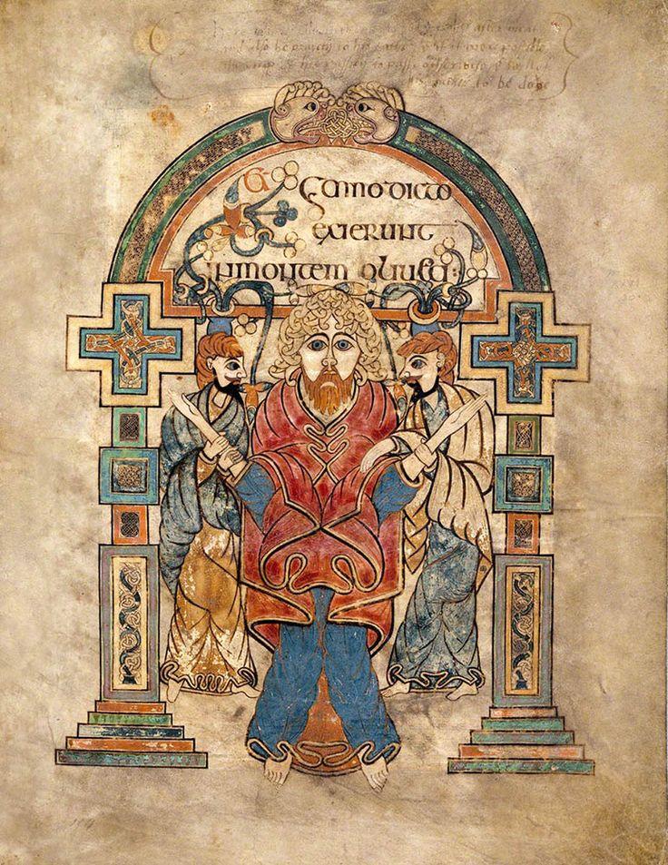 Arrestation du Christ (folio 114r du livre de Kells).                                                                                                                                                                                 Plus
