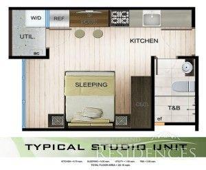 Amandari Studio Unit Floor Area: 20.15 sq.m. Pre-selling Price: 1,321,770.00 Note: Price may increase without prior notice.