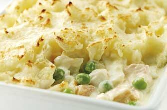 Quick and easy fish pie recipe - replace Cyrene fraiche with yoghurt. Sweet potatoes instead of potatoes. Feta cheese