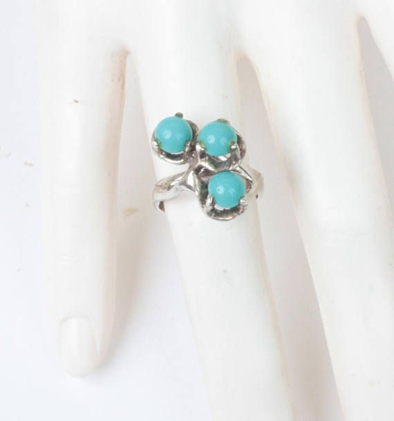 Modernist Simulated Turquoise Sterling Ring Mexico Mexican