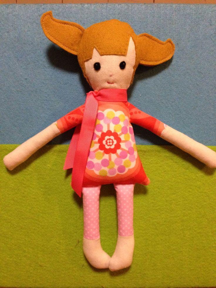 Handmade fabric doll, orange dress with pink polka dot leggins