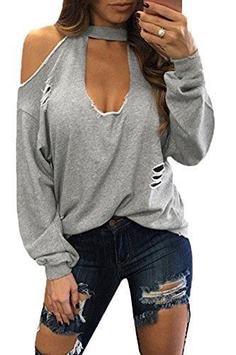 b211e917774a86 Women Sexy Cold Shoulder Plunge Neck Ripped Long Sleeves Top   t shirts    Diy clothes, Diy fashion, Diy shirt