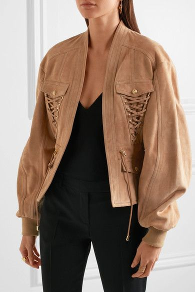 Balmain - Lace-up Suede Jacket - Sand - FR