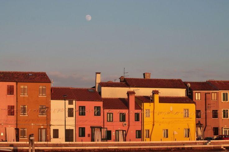 Pellestrina island with the moon