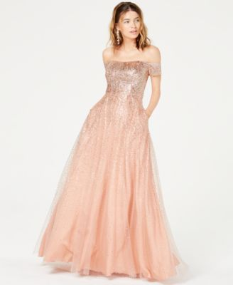 efccfd6f8d Say Yes to the Prom Juniors  Glitter Off-The-Shoulder Gown