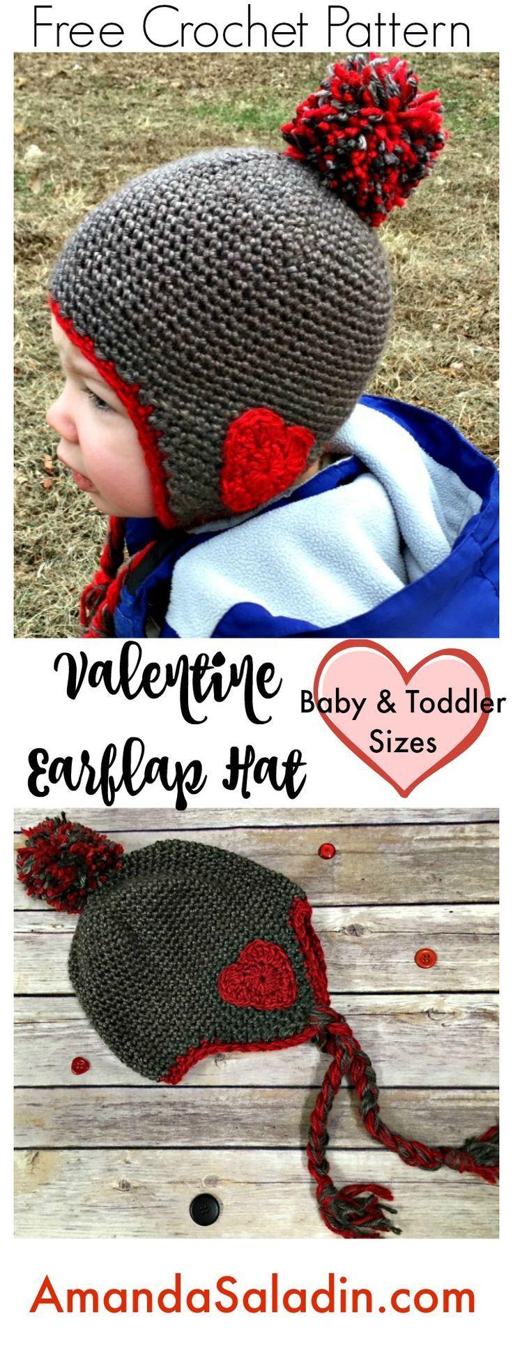 Valentine Ear Flap Hat - Free Crochet Pattern | Pinterest | Stricken