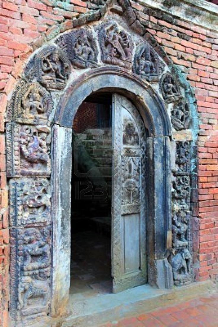 Hindu temple wooden carved door bhaktapur nepal
