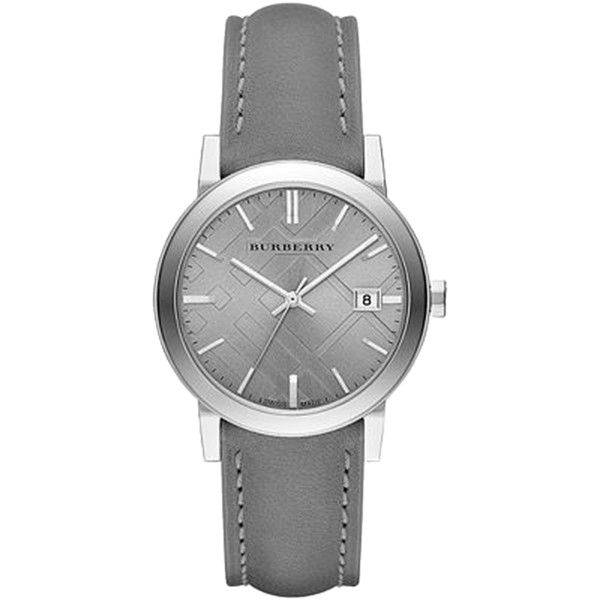 Pre-owned Nwt Burberry Light Grey Dial Grey Leather Ladies Watch... found on Polyvore featuring jewelry, watches, accessories, montres, grey, burberry, gray jewelry, pre owned watches, burberry watches and pre owned jewelry