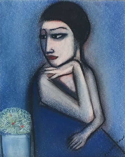 Robert Dickerson Girl With Flowers  pastel, charcoal on paper  Copyright © Robert Dickerson