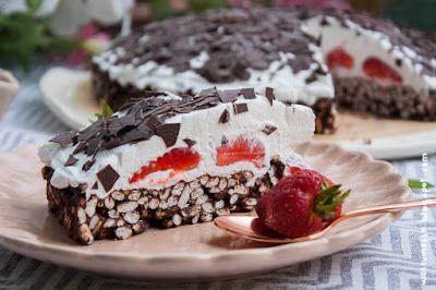 Knusper-Puffreis-Erdbeer-Torte ohne backen [vegan] | Wos zum Essn