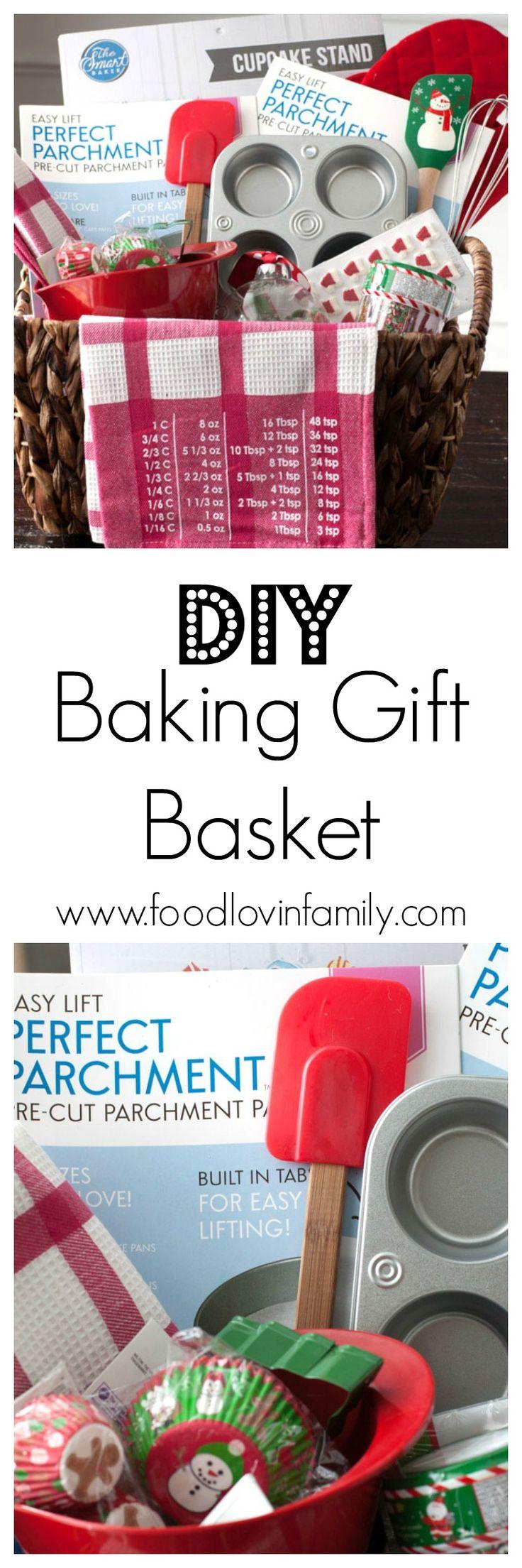 DIY Baking Gift Basket. Ideas for putting together a baking gift basket| http://www.foodlovinfamily.com/diy-baking-gift-basket/