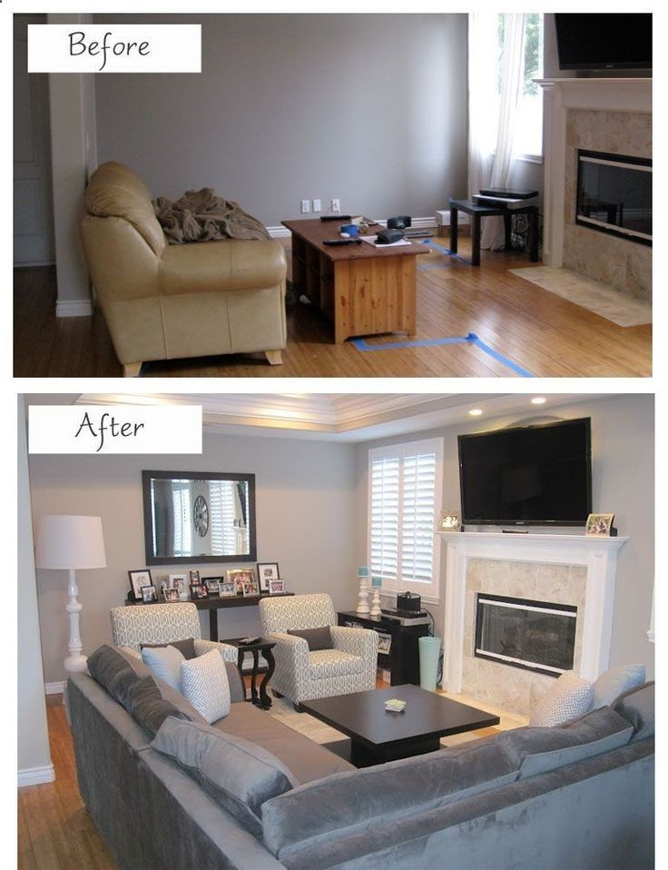How To Efficiently Arrange The Furniture In A Small Living room - several before and after shots with room lay-out plans.