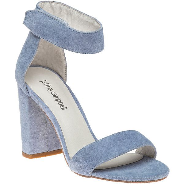 JEFFREY CAMPBELL Lindsay Light Blue Suede Sandal ($130) ❤ liked on Polyvore featuring shoes, sandals, blue suede, high heel shoes, suede sandals, toe-loop sandals, jeffrey campbell sandals and summer shoes