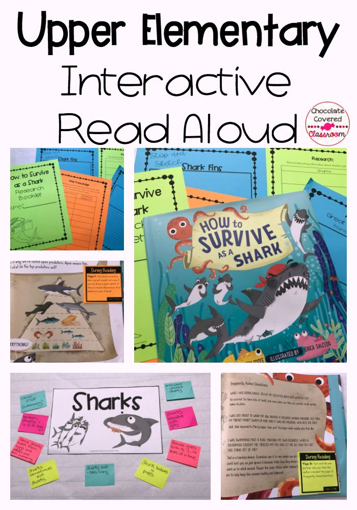 Upper Elementary (grades 3, 4, 5) interactive read aloud. Perfect for reading workshop. How to survive as a shark is a beautiful combination of a fiction story and nonfiction information about sharks.