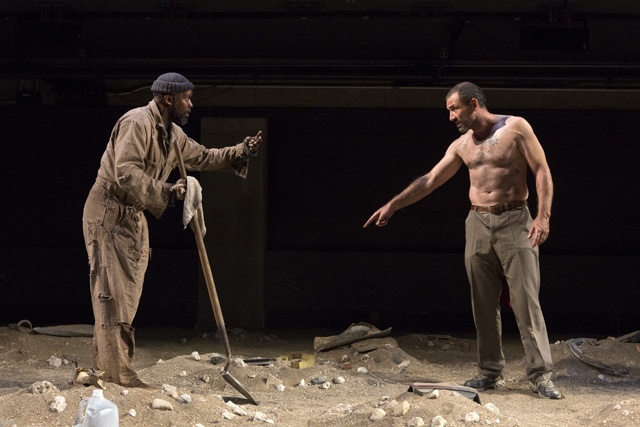 The Train Driver 09-18-12 Leon Addison Brown (Simon) and Ritchie Coster (Roelf). Photo by Richard Termine.