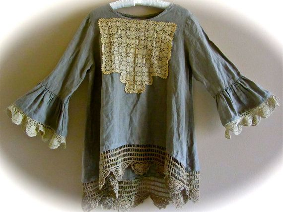 Boho Edwardian Forest Green Linen Poets Shirt XL Antique Crocheted Lace Shabby Chic