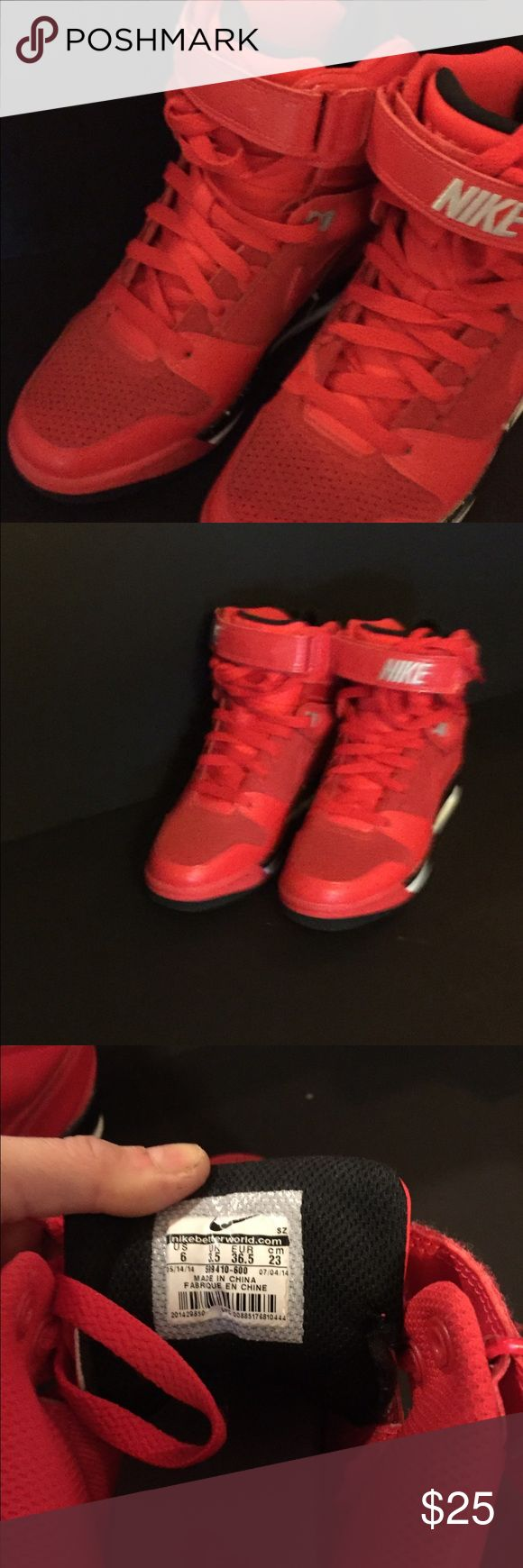 Nike Red Wedge High Top Sneakers Excellent condition worn once. Hightop fashionable sneakers with inside wedge. Size 6 Nike Shoes Athletic Shoes