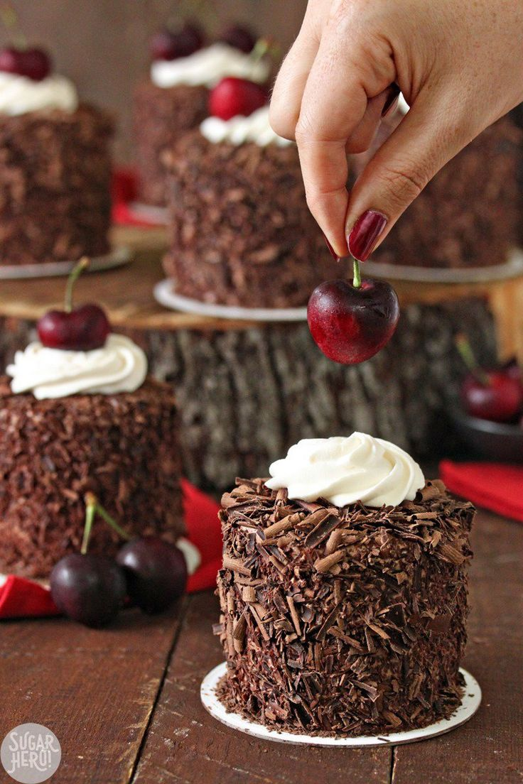 Black Forest Mini Cakes are mini layer cakes filled with moist chocolate cake, Kirsch syrup, chocolate pastry cream, and fresh cherries.