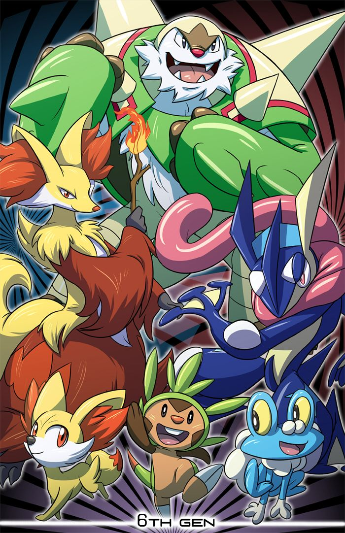 Pokemon 6th Generation by Nicolette Ray. First time I ever chose a water type starter *tear drop* I love my greninja