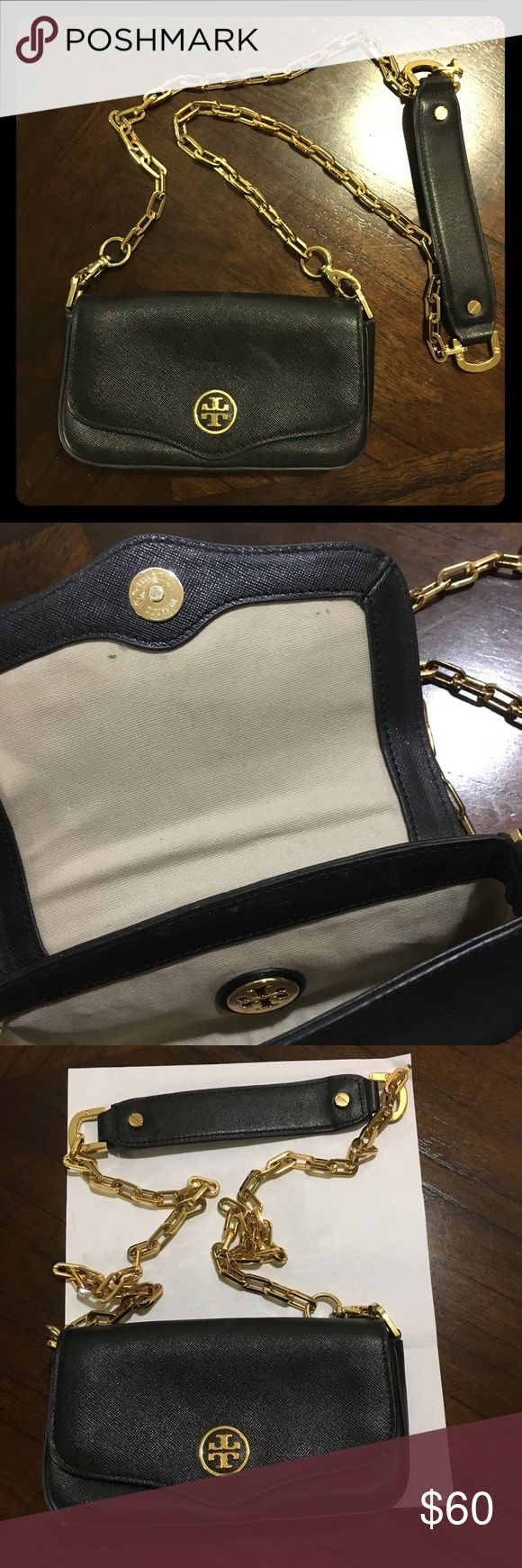 Tory Burch Robinson Mini Crossbody Super cute mini Cross-body bag from Tory Burch Robinson collection. About 7.5in wide - see photo for comparison with letter size paper (8.5in wide). Gold hardware details. Tory Burch Bags Crossbody Bags