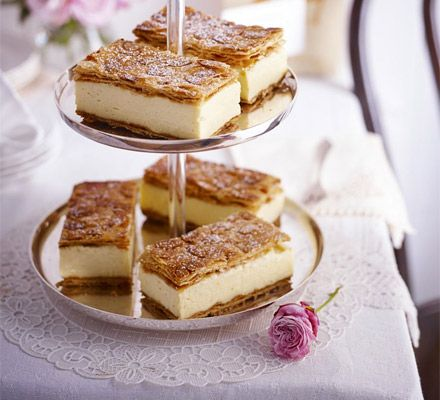 Vanilla custard slices. A glorious pastry classic that's tricky to get perfect, but lends a touch of patisserie luxury on an afternoon tea stand
