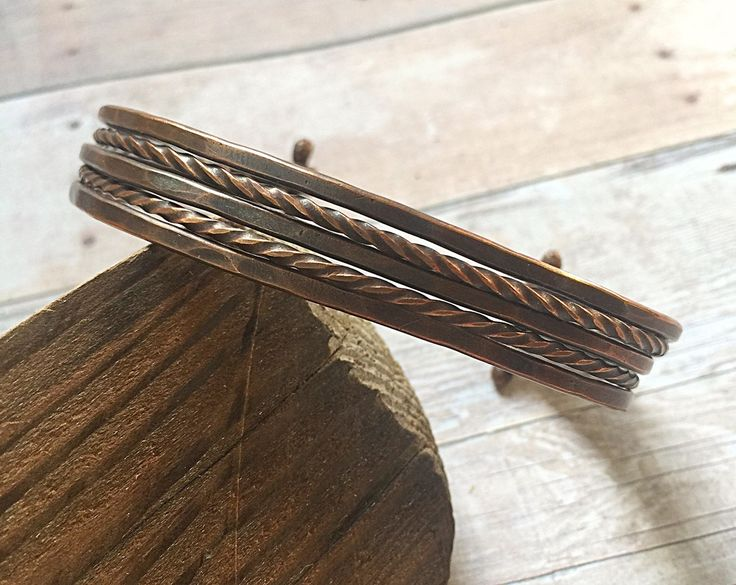 Unisex Bracelet - Wire Copper Cuff - Copper Cuff Bracelet For Him - Adjustable Wire Cuff