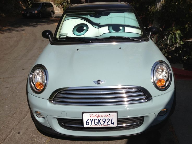 Hand Crafted Ice Blue Mini Cooper Eyes Sunshade - Eyeshade by ...