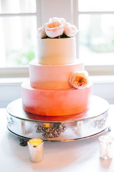 What a stunning pink and sherbert wedding cake with pink peonies on top! A perfect wedding cake for a shabby chic or vintage wedding. {Riverland Studios}