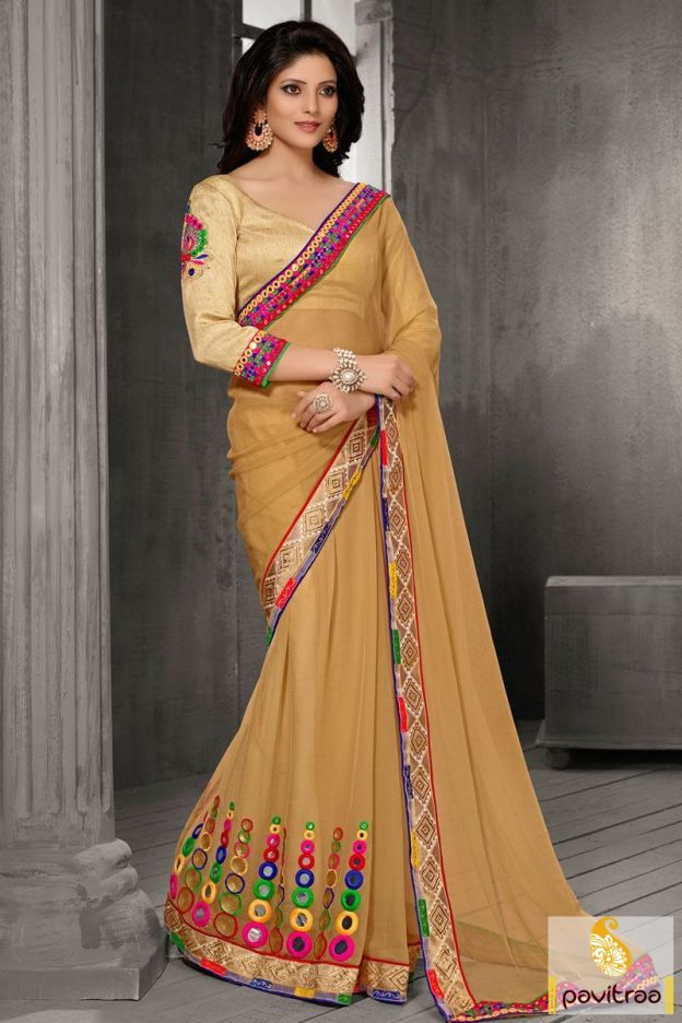 A fashionable beige chiffon saree with designer blouse online store. This party wear sarees is decorated with embroidery, mirror work lace and heavy blouse.  http://www.pavitraa.in/store/party-wear-saree/ Call/ WhatsApp : +91-7698234040  #partywearsaree, #designersaree, #festivalsaree, #saree, #designerblouse, #onlinesaree, #emboiderysaree, #bollywoodsaree, #diwalifestivalsaree, #discountoffer, #wholesalesaree, #festivaloffer