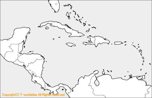 中央アメリカの白地図