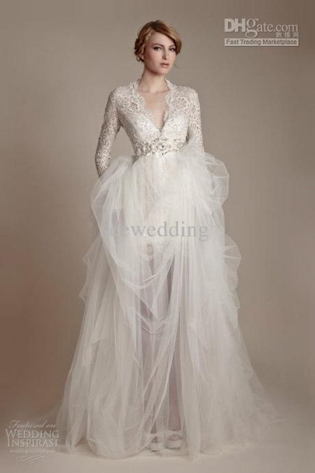 Wholesale Elegant Vintage V Neck Long Sleeve Wedding Dresses Beads Tulle Lace Wedding Gowns Bridal Dress 2013, Free shipping, $156.8-179.2/Piece | DHgate  Dress A. :)